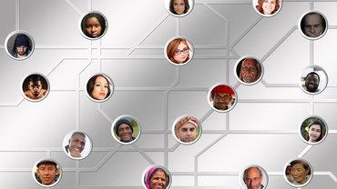Köpfe in einem Netzwerkdiagramm