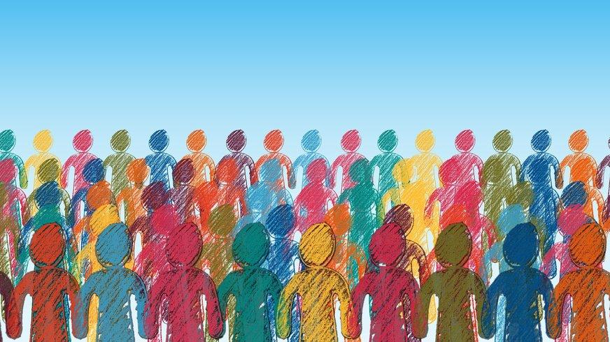 gezeichnete Menschenmenge