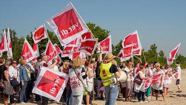 Streik bei Helios Region Nord am Strand